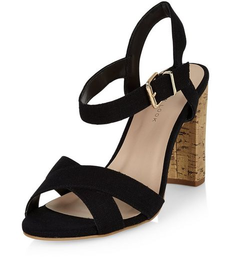 Wide Fit Black Canvas Cross Strap Block Heel Sandals  | New Look