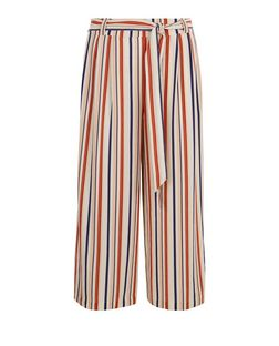 Blue Stripe Tie Waist Culottes | New Look