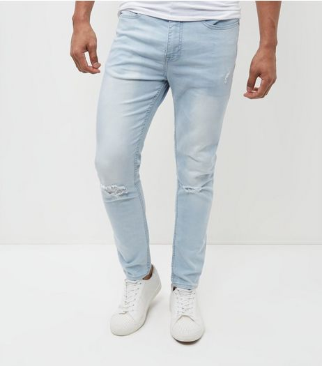Blue Bleached Ripped Knee Super Skinny Jeans | New Look