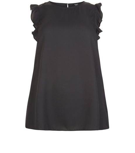 Curves Black Ruffle Sleeve Shell Top | New Look