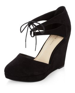 Wide Fit Black Comfort Lace Up Ankle Strap Wedges  | New Look