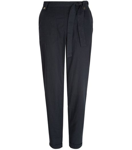 Tall Navy Belted Slim Leg Trousers | New Look