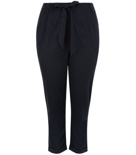 Curves Navy Belted Trousers  | New Look