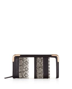 Black Snakeskin Stripe Purse  | New Look