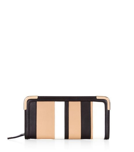 Camel Stripe Purse  | New Look