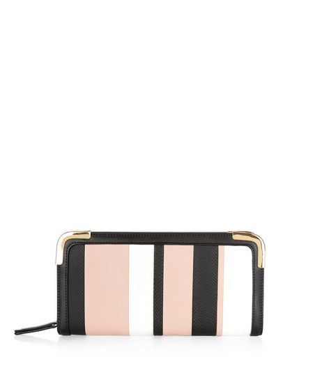 Pink Panelled Stripe Purse | New Look