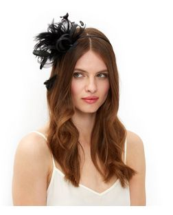 Black Feather Mesh Loop Fascinator  | New Look