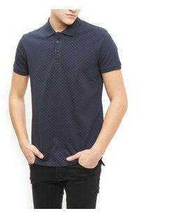 Jack and Jones Premium Navy Polka Dot Polo Shirt | New Look