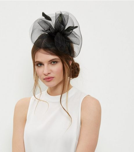 Black Feather Net Fascinator | New Look