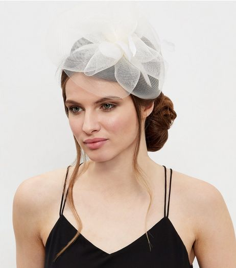 Cream Feather Net Fascinator | New Look