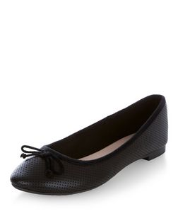 Black Perforated Ballet Pumps  | New Look