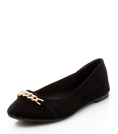 Black Suedette Chain Strap Ballet Pumps  | New Look