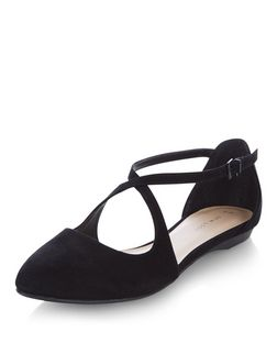 Black Suedette Cross Over Pointed Pumps  | New Look