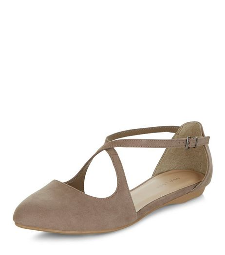 Light Brown Suedette Cross Strap Ballet Pumps | New Look