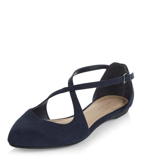 Navy Suedette Cross Strap Ballet Pumps | New Look
