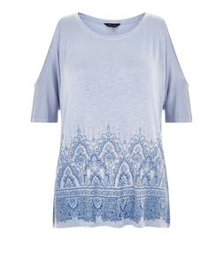 Pale Blue Abstract Print Panel Cold Shoulder Top  | New Look