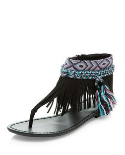 Black Suedette Fringe T-Bar Strap Sandals  | New Look