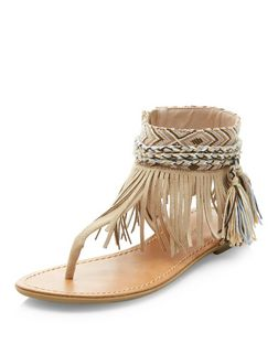 Stone Suedette Fringe T-Bar Strap Sandals  | New Look