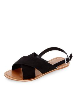 Black Suede Cross Strap Sandals  | New Look