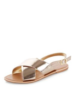 Gold Leather Cross Strap Sandals  | New Look