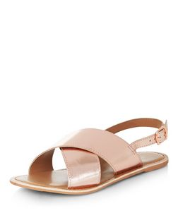 Rose Gold Leather Cross Strap Sandals  | New Look