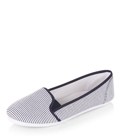 Teens Navy Stripe Slip On Plimsolls  | New Look