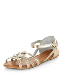 Wide Fit Gold Leather Plaited Cross Strap Sandals  | New Look