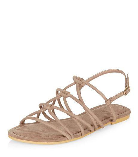 Wide Fit Light Brown Suedette Knotted Strap Sandals  | New Look