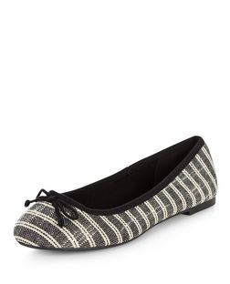 Wide Fit Black Stripe Ballet Pumps  | New Look