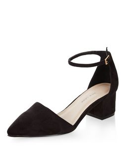 Wide Fit Black Suedette Pointed Ankle Strap Block Heels  | New Look