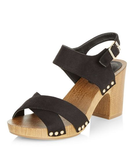 Wide Fit Black Contrast Suedette Cross Strap Heeled Sandals  | New Look