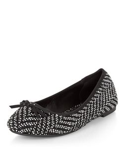Wide Fit Black Woven Chevron Ballet Pumps  | New Look