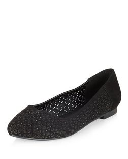 Wide Fit Black Laser Cut Out Pointed Pumps  | New Look