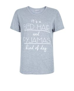 Grey It's A Bed Hair and Pyjamas Kind Of Day Print Pyjama Top | New Look