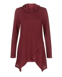 Apricot Burgundy Turtle Neck Wrap Front Top  | New Look
