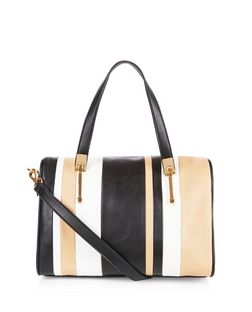 Brown Stripe Bowler Bag  | New Look