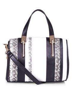 Black Stripe Snakeskin Print Bowler Bag | New Look