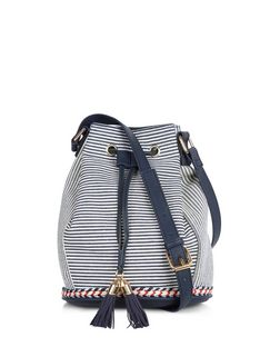 Blue Stripe Duffle Bag  | New Look