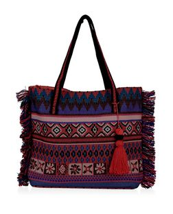 Pink Aztec Print Tassel Fringed Shopper Bag | New Look