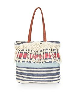 Blue Stripe Knotted Tassel Trim Shopper Bag  | New Look