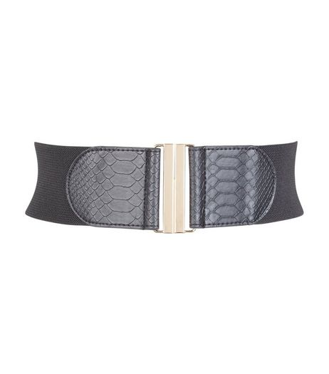 Black Croc Texture Stretch Belt | New Look