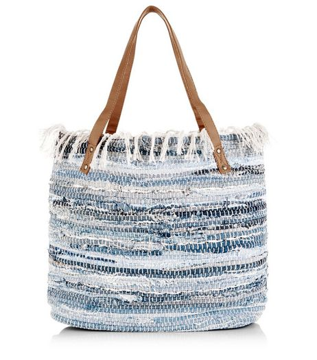 Blue Rolled Denim Fray Trim Shopper Bag  | New Look