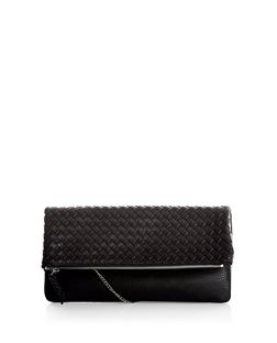 Black Woven Fold Over Clutch  | New Look