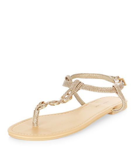 Gold Glitter Plaited T-Bar Strap Sandals  | New Look
