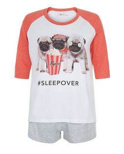 Teens Coral Pug Sleepover Print Pyjama Set | New Look
