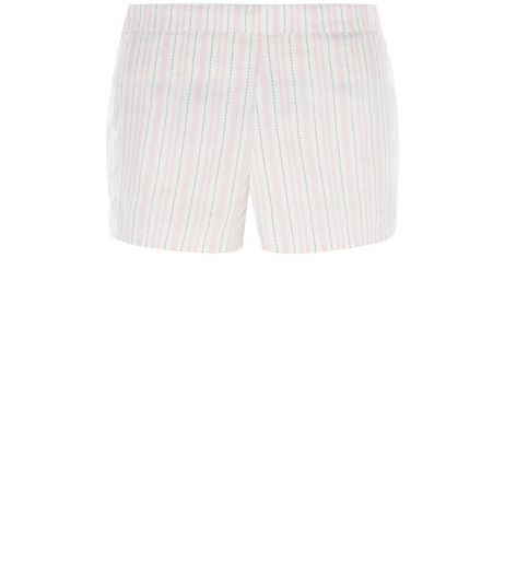 Pink Stripe Broderie Pyjama Shorts | New Look
