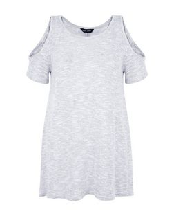 Pale Blue Fine Knit Cold Shoulder Hanky Hem T-Shirt  | New Look