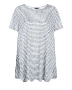Grey Fine Knit Stripe Swing T-Shirt  | New Look