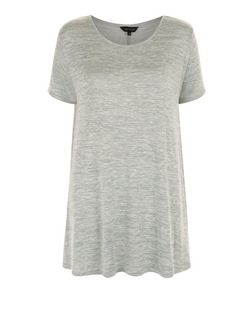 Light Green Fine Knit Swing T-Shirt  | New Look