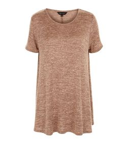 Mid Pink Fine Knit Swing T-Shirt  | New Look